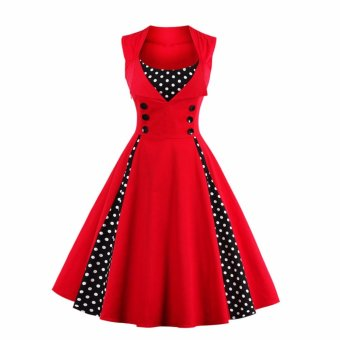 Hequ Fashion Women Vintage Office Dress A Line Polka Dot Stitching50s Retro Big Swing Skater Dresses Red - intl