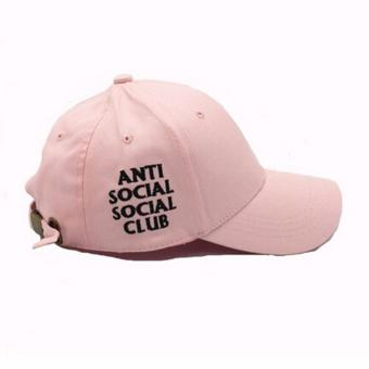 Hequ Fitted Trucker Hat Summer Printed anti social social club Baseball Cap Women Men Snapback chic style Pink - intl