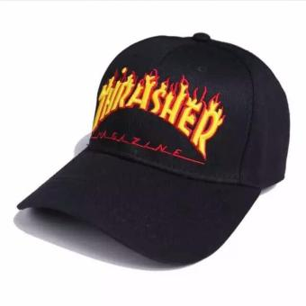 Hequ Flame Thrasher Hiphop hat Street Fashion Baseball cap HEYBIG Curve brimmed Panel embroidery Gorras Harajuku chic style Black - intl