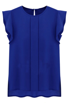 Hequ Flounced Sleeve Office Lady Chiffon Blouse (Blue)