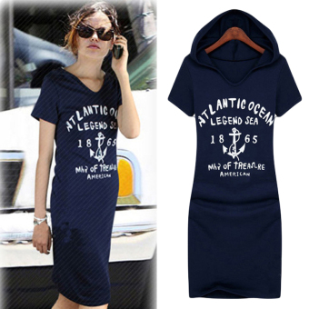 Hequ Letter Print Cotton Fitted Hoodie Long Sweatshirt Mini Dress(Navy Blue) - 3