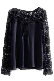 Hequ Long Sleeve Chiffon Shirts Blouse (Black)