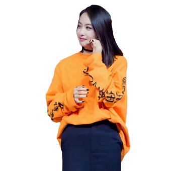 Hequ New Fashion Kanye West Big Bang T-shirt Hip Hop Style LooseSleeve Oversized Women Men T-shirt Orange - intl - 4