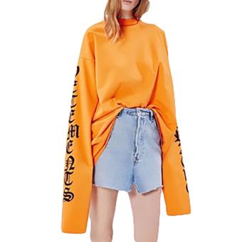 Hequ New Fashion Kanye West Big Bang T-shirt Hip Hop Style LooseSleeve Oversized Women Men T-shirt Orange - intl - 2