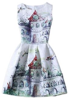 Hequ Stamp Slim Sleeveless Dress (Multicolor)