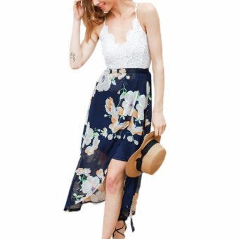 Hequ Summer Women Deep V-neck Floral Printed Jumpsuits LaceBackless Maxi Party Dresses Multicolor - intl
