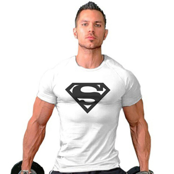 Hequ Superman Gym Singlets Bodybuilding Fitness T-shirt (White)