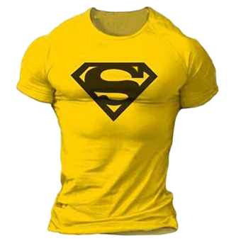 Hequ Superman Gym Singlets Bodybuilding Fitness T-shirt (Yellow)