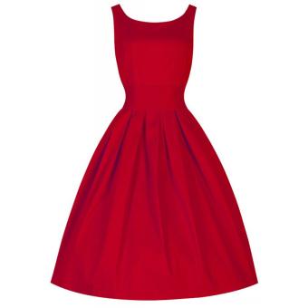 Hequ Vintage Hepburn Wind Waist Thin Fluffy Dress (Red)