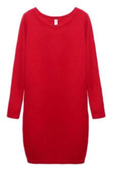 Hequ Women Sheath Warm Casual Dresses (Red)