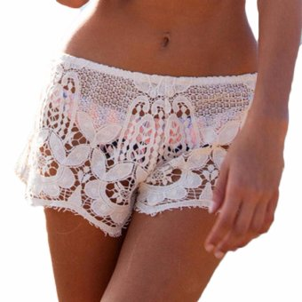 Hequ Womens Lady Summer Beach Swimwear New Shorts Lace Crochet MiniPants Bikini Cover up Bathing White - intl