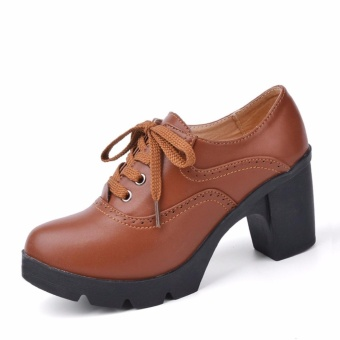 High Heel Women Lace-up Leather Shoes Platform Pumps Ladies ThickHeel Work Shoes (Brown) - intl - 3