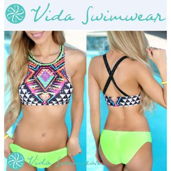 High Neck Two Piece Neon Bottom Bikini Swimsuit Aztec Print SexyWomen's Swimwear