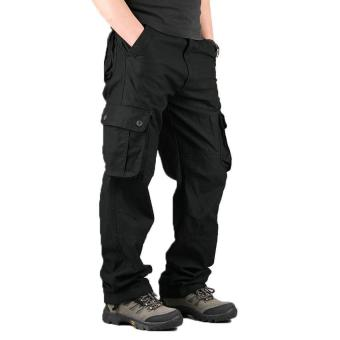 High Quality Men's Cargo Pants Casual Mens Pant Multi PocketMilitary Overall Men Outdoors Long Trousers 30-44 Plus size (black)- intl