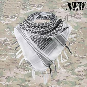 High Quality Polyester Superior Tactical Military Scarf Turban ArabDesert Shemagh Keffiyeh (White) - intl