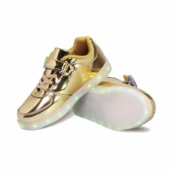 Hk Bubugao 1122 Deluxe Fashion Sport Dancing LED Lightning Boy's Sneaker Shoes (Gold)