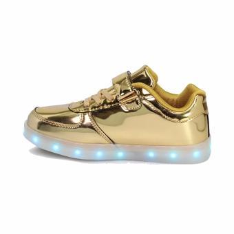 Hk Bubugao 1122 Deluxe Fashion Sport Dancing LED Lightning Boy's Sneaker Shoes (Gold) - 3