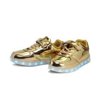 Hk Bubugao 1122 Deluxe Fashion Sport Dancing LED Lightning Boy's Sneaker Shoes (Gold) - 2