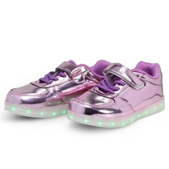 Hk Bubugao 1122 Deluxe Fashion Sports Dancing LED Lightning Girl's Sneaker Shoes (Violet) - 2