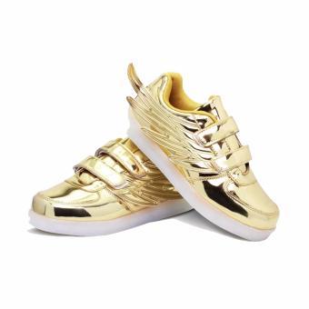 Hk Bubugao 1133 Fashion LED Lightning Unisex Sneaker Shoes (Gold Eagle) - 2