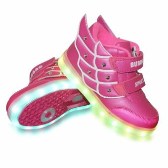 Hk Bubugao 55151A Deluxe Fashion Sports Dancing LED Lightning Girl's Sneakers Shoes (Fuchsia Pink)