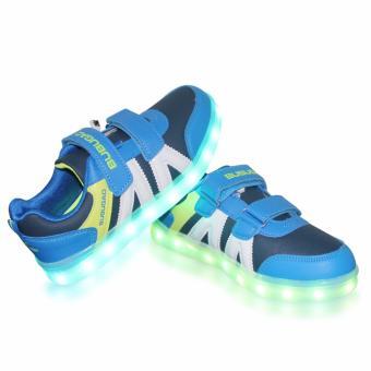 Hk Bubugao 5957A Deluxe Fashion Sports Dancing LED Lightning Boy's Sneakers Shoes (Blue) - 4