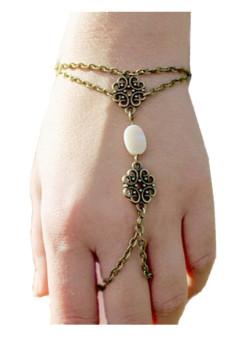 Hollow Carved Shells Bracelet Finger Ring Bangle Slave Chain