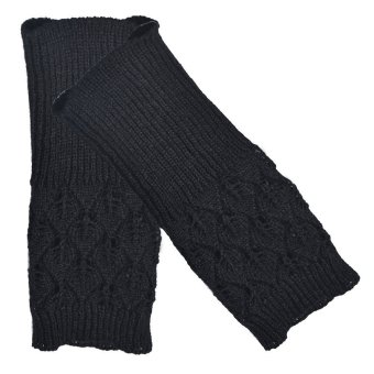 Hollow Out Leaves Knitted Gloves Black - picture 2