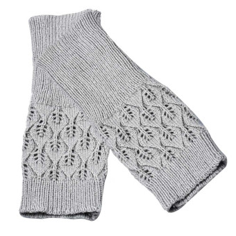 Hollow Out Leaves Knitted Gloves Gray - picture 2