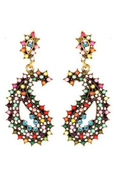Hollow Rhinestone Beads Eyes Water Drop Earrings (Multicolor)