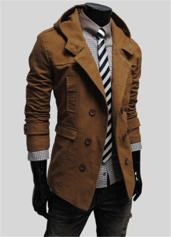 Hooded Cotton Plain Long Sleeve Double Breasted Mens Jackets - intl