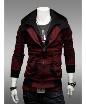 Hooded Cotton Plain Long Sleeve Zipper Mens Hoodies Jackets - intl