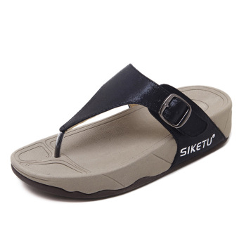 Hook's flip-flop women's shoes female sandals and slippers (Black)