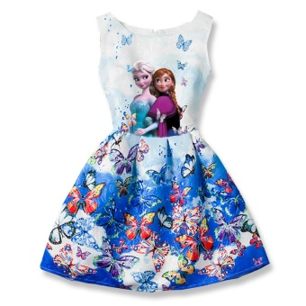 HOT 2017 Elsa Dress Girl Dresses For Girls Snow Queen TeenagersButterfly Print Party Dress Anna Elsa Vestidos Kids Costume - intl Price Philippines