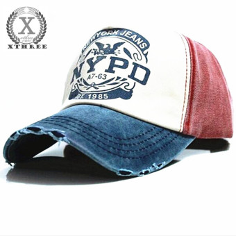 Hot Brand Cap Baseball Cap Fitted Hat Casual Cap Gorras 5 Panel Hip Hop Snapback Hats Wash Cap for Men Women(blue red) - intl