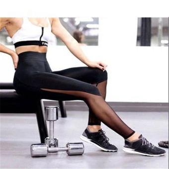 Hot Fashion Workout Training High Waist Mesh Leggings RunningSporty Style Fitness Women Sport Slim Women Yoga Pants HarajukuSummer Black Sexy Leggings Push Up Fitness Gym Clothes - intl