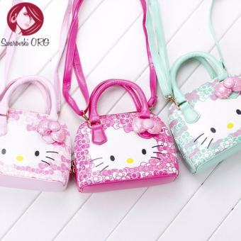 Hot new arrival Hello Kitty girl's princess Sequins bag walletpurse portable messenger children handbag (Design Light Pink)