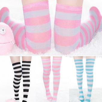 Hot Sale 12 Pair of Colorful Fashion Girls Ladies Women Sexy Thigh High Over The Knee Socks Long Cotton Striped Stockings - intl - 2