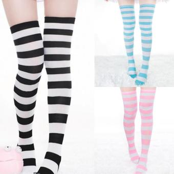 Hot Sale 12 Pair of Colorful Fashion Girls Ladies Women Sexy Thigh High Over The Knee Socks Long Cotton Striped Stockings - intl - 3