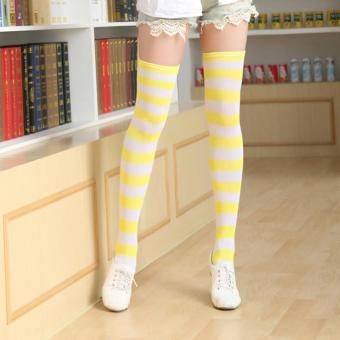 Hot Sale 12 Pair of Colorful Fashion Girls Ladies Women Sexy Thigh High Over The Knee Socks Long Cotton Striped Stockings - intl - 5