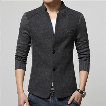 Hot Sale Men's Blazer Patchwork Suits for Men Top Quality RedBlazers Slim Fit Wool Outwear Coat Men's Costume Men's Blazer(Grey) - intl