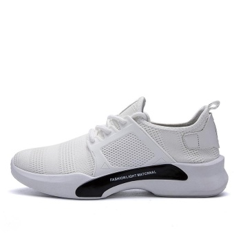 Hot Sale New Style Fly Weave Lower-Cut Running Shos Simple FashionPure Color Athleisure Walking Shoes for Man (white) - intl - 4