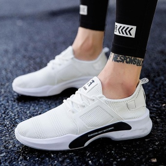 Hot Sale New Style Fly Weave Lower-Cut Running Shos Simple FashionPure Color Athleisure Walking Shoes for Man (white) - intl