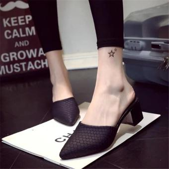 Hot Sale!!! Sexy Shoes Women Summer Fashion Pointed High Heel Sandals Women Slippers Ladies Shoes Size 35-40 Black - intl