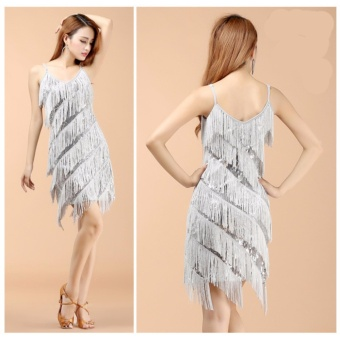 Hot Sale Sexy women stunning flapper fringe gold vintage great gatsby charleston sequin party latin dance dress- Silvery - intl - 2