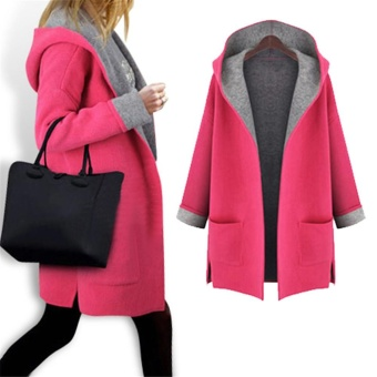 Hot Sale Women Lady Thicken Warm Winter Trench Hooded Coat Parka Overcoat Plus-size Long Jacket Outwear with Cap Rose - intl