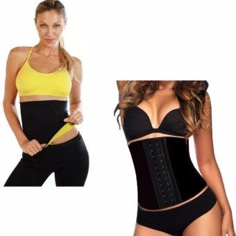 Hot Shaper Womens Shapewear(Black/Yellow)With 3 Hooks Sport Latex Steel Boned Waist Cincher Girdle Corset Bustiers Medium (Black)