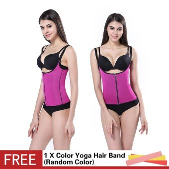 Hot Shapers Neoprene Sauna Adjustable Sweat Vest Sheath Latex WaistTrainer Cincher Women Body Shapers Slimming Trimmer Corset WorkoutThermo Push Up Trainer - intl