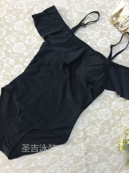 Hot Spring European and American black color New style slimming swimsuit (17089-black) (17089-black)