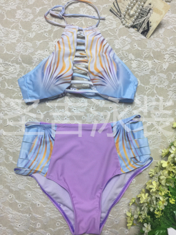 Hot Spring European and American color of the high-waisted slimming swimsuit sexy BIKINI (17041-purple) (17041-purple)